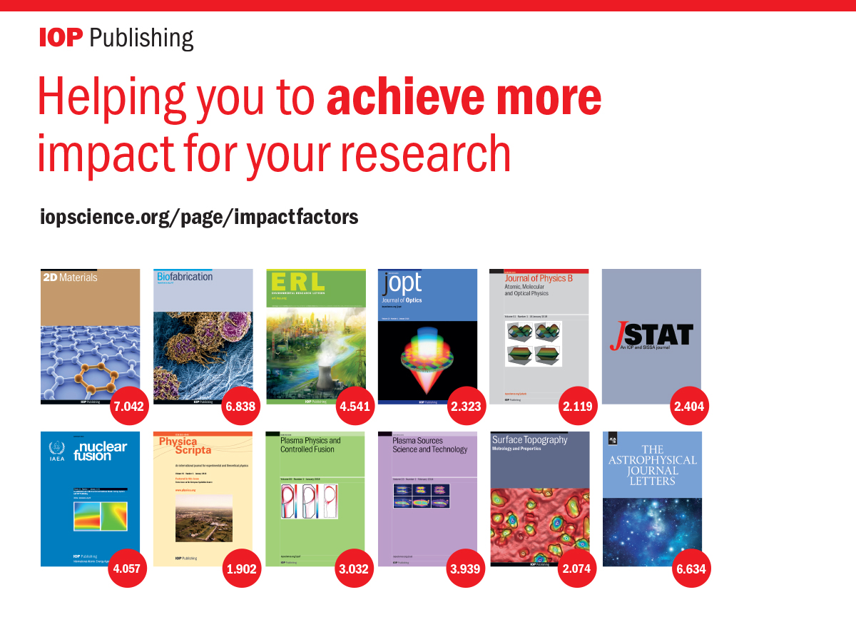 Iopscience 2017 Journal Impact Factors For Iop Publishing Journals
